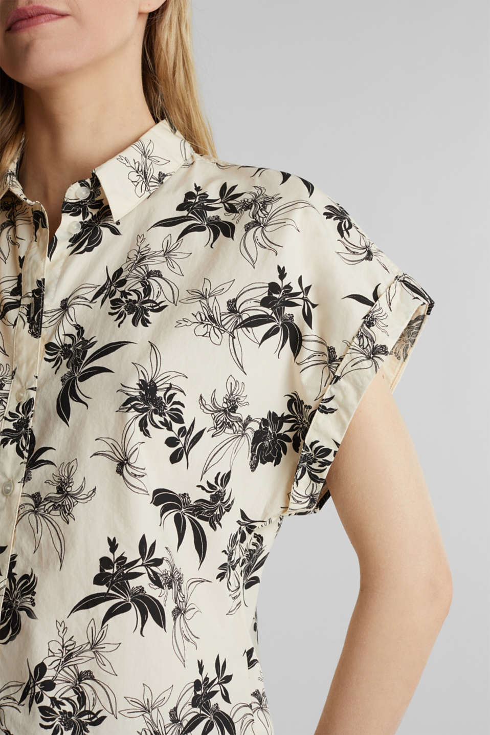 Floral print blouse, 100% organic cotton, OFF WHITE, detail image number 2