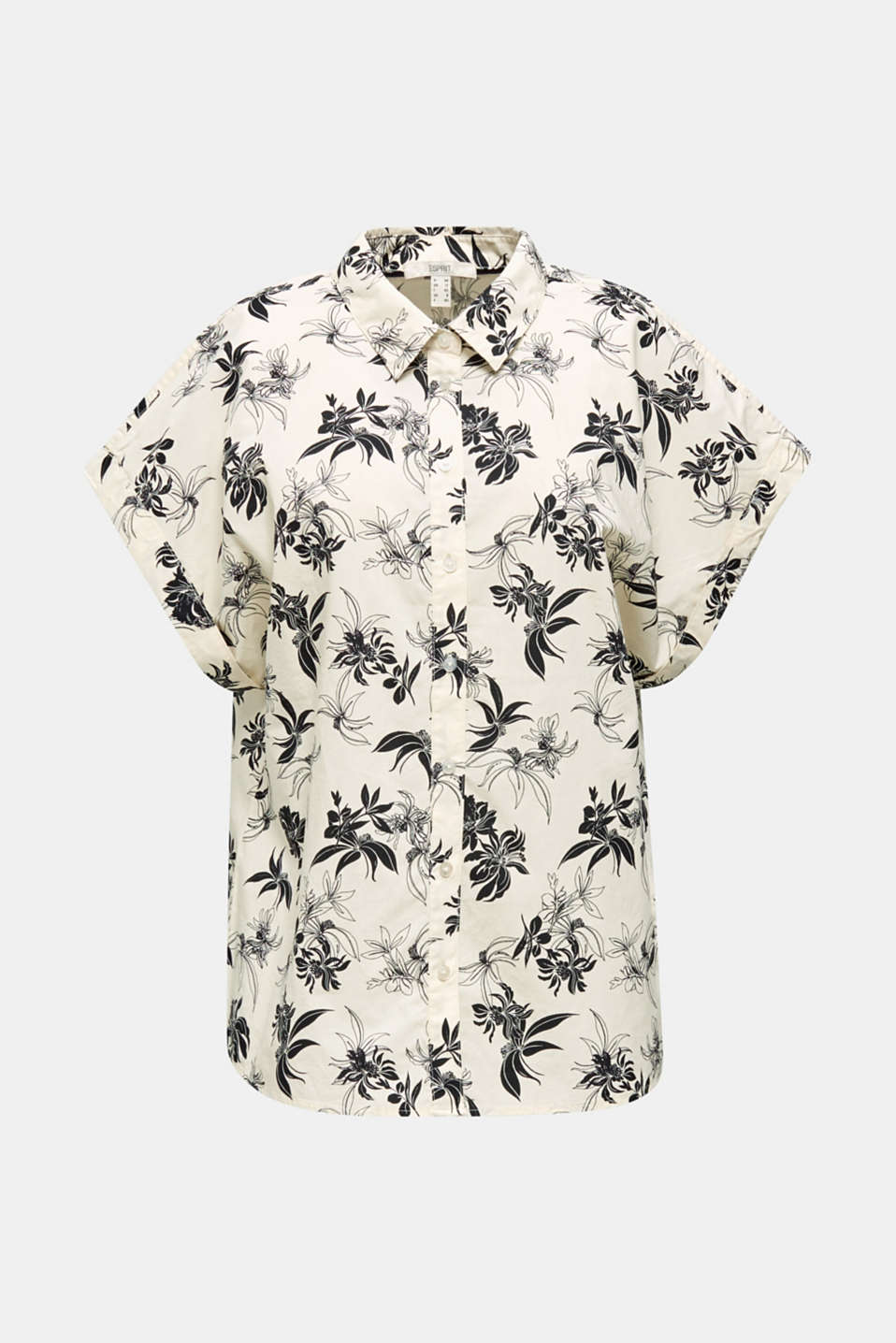 Floral print blouse, 100% organic cotton, OFF WHITE, detail image number 5