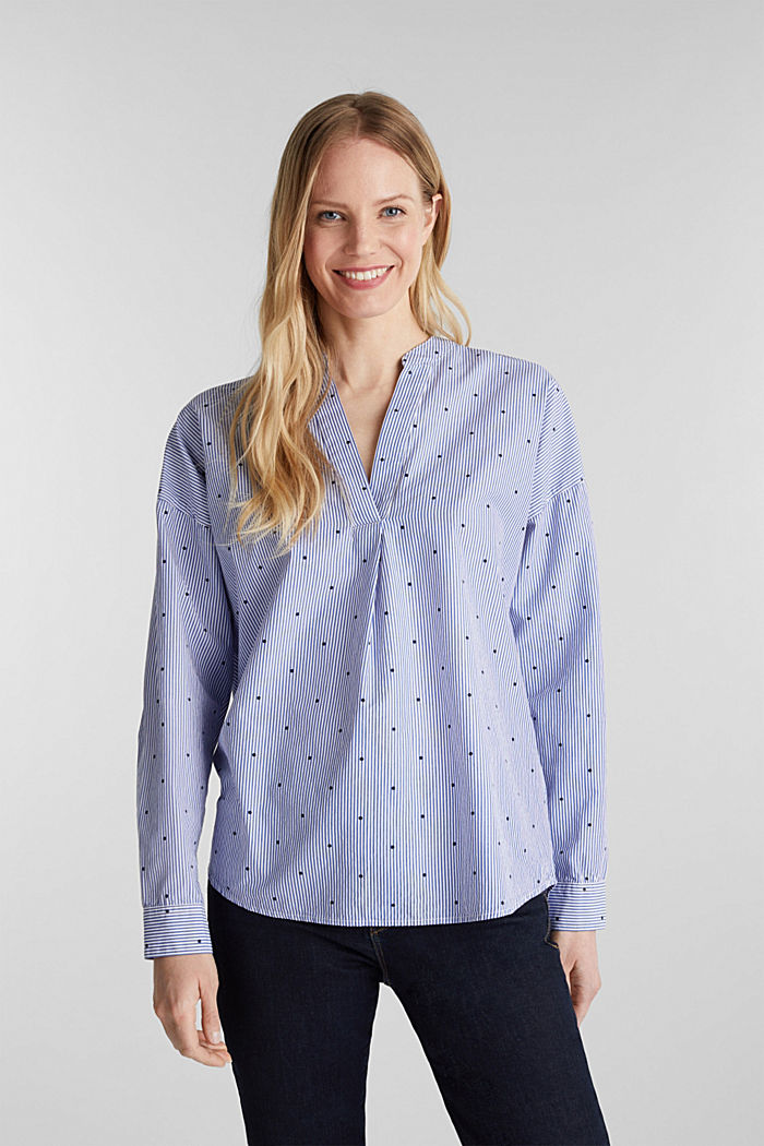 Mixed pattern blouse, 100% cotton