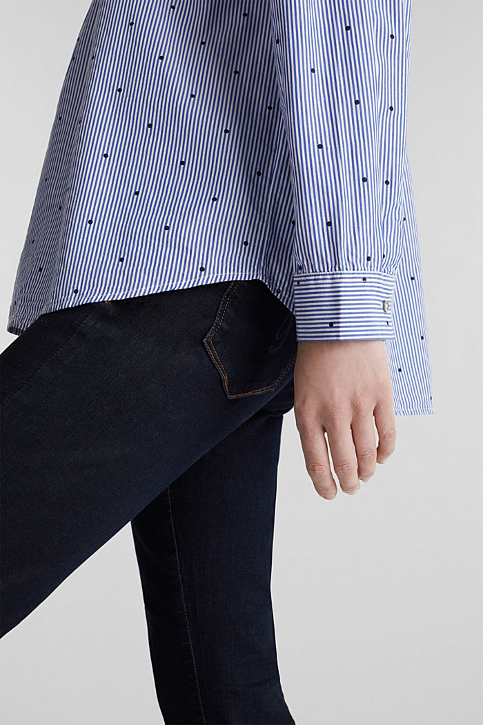 Mixed pattern blouse, 100% cotton, NAVY, detail image number 2