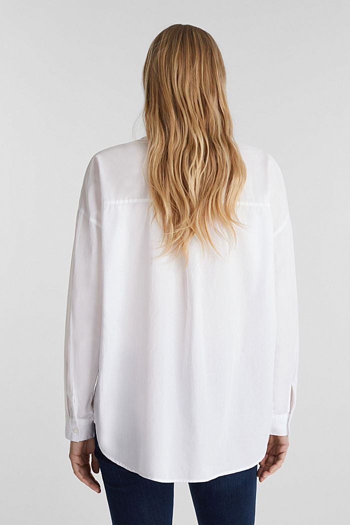 Slip-on blouse made of 100% cotton, WHITE, detail image number 3