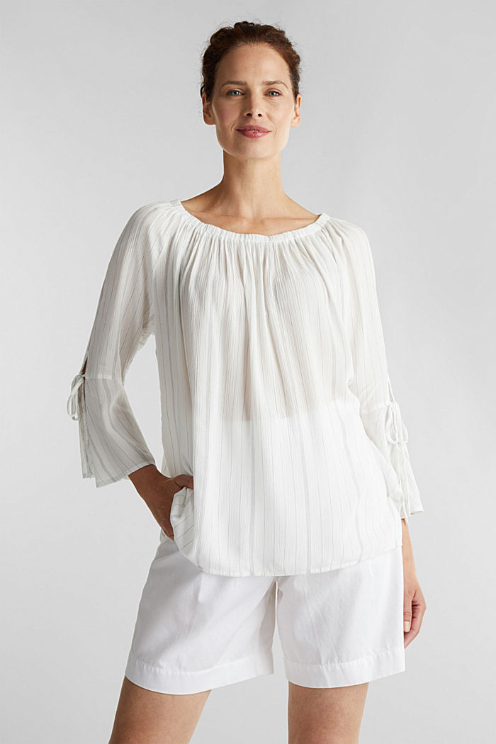 Blouse with a stretchy neckline, OFF WHITE, detail image number 0