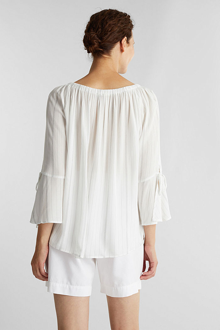 Blouse with a stretchy neckline, OFF WHITE, detail image number 3