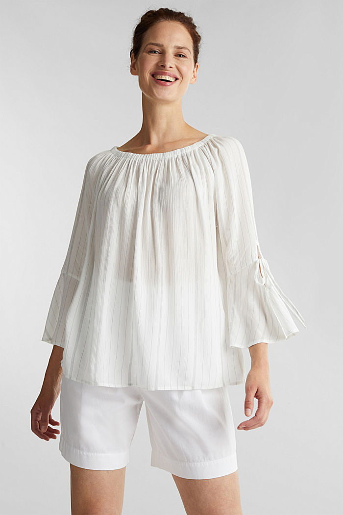 Blouse with a stretchy neckline, OFF WHITE, detail image number 5