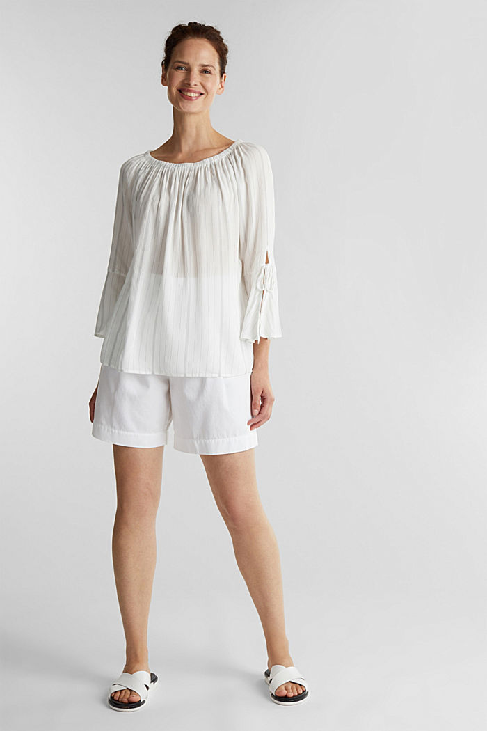 Blouse with a stretchy neckline, OFF WHITE, detail image number 1