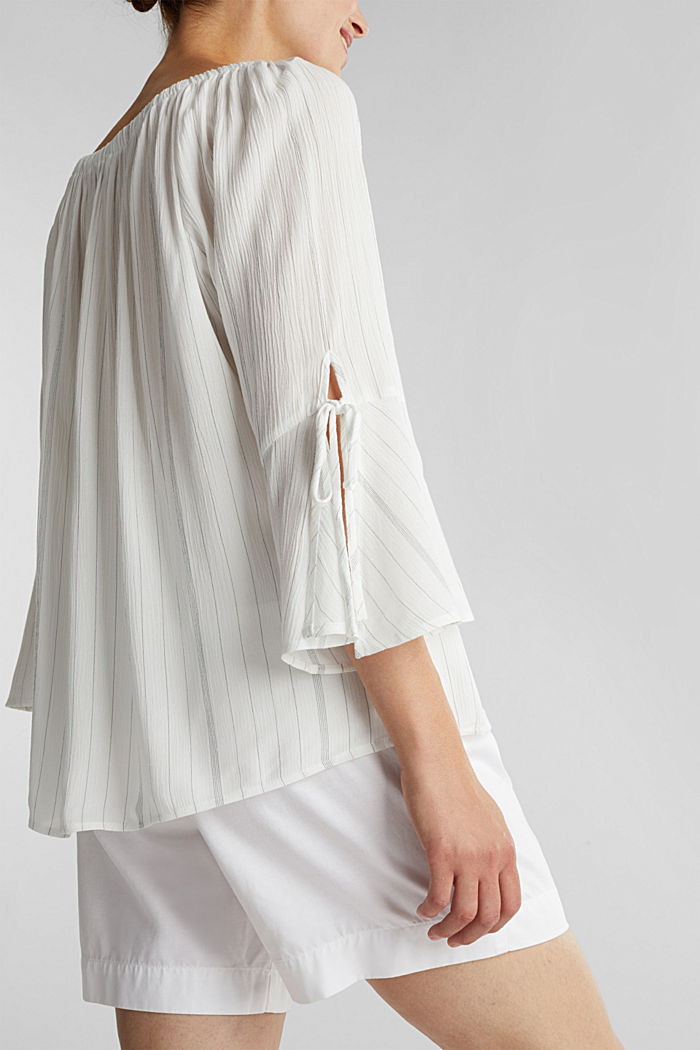 Blouse with a stretchy neckline, OFF WHITE, detail image number 2