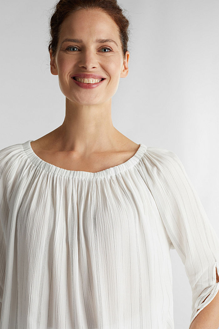 Blouse met elastische hals, OFF WHITE, detail image number 6