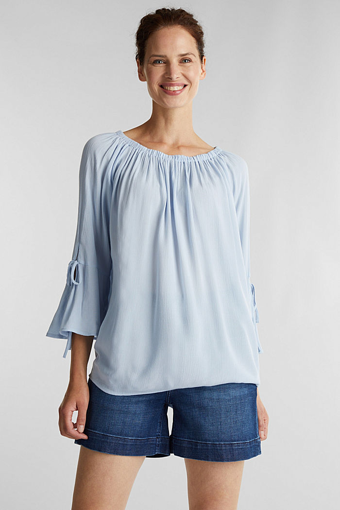 Blouse with a stretchy neckline, LIGHT BLUE, detail image number 0