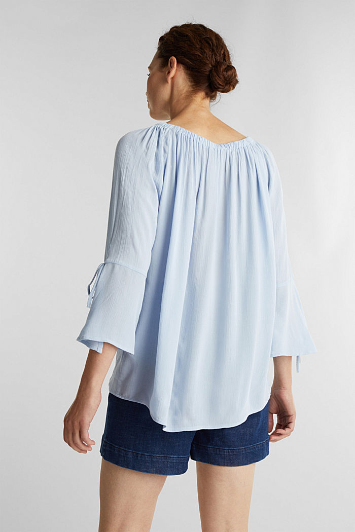 Blouse with a stretchy neckline, LIGHT BLUE, detail image number 3