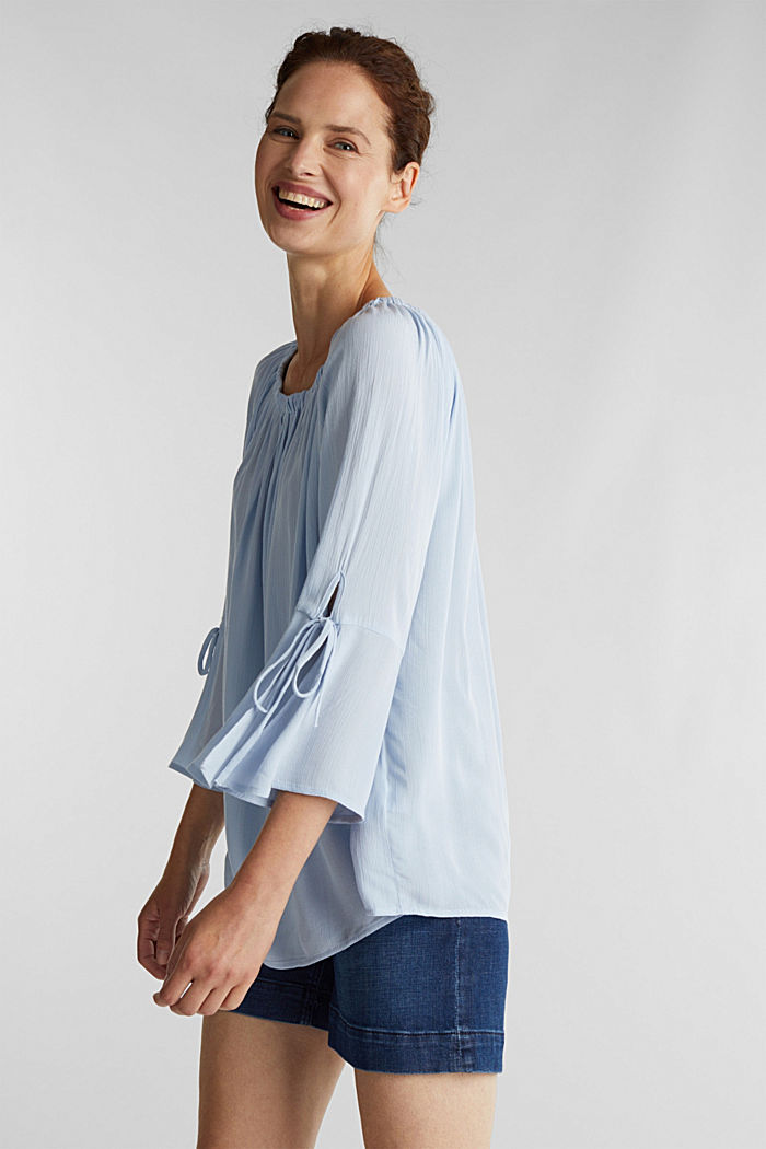 Blouse with a stretchy neckline, LIGHT BLUE, detail image number 5