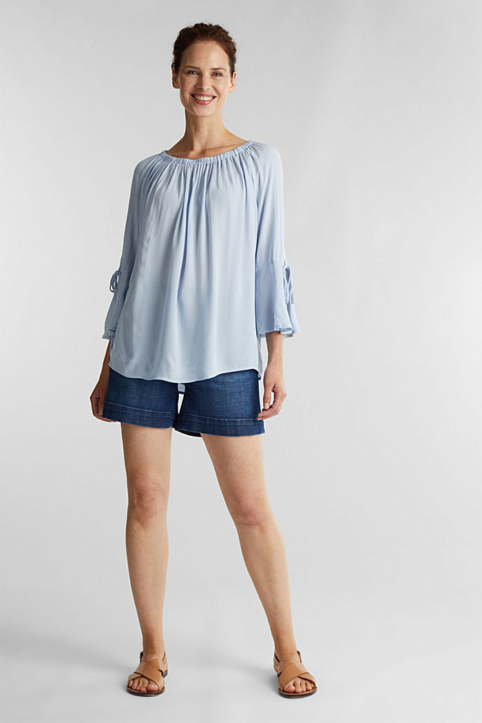 Blouse with a stretchy neckline, LIGHT BLUE, detail image number 1