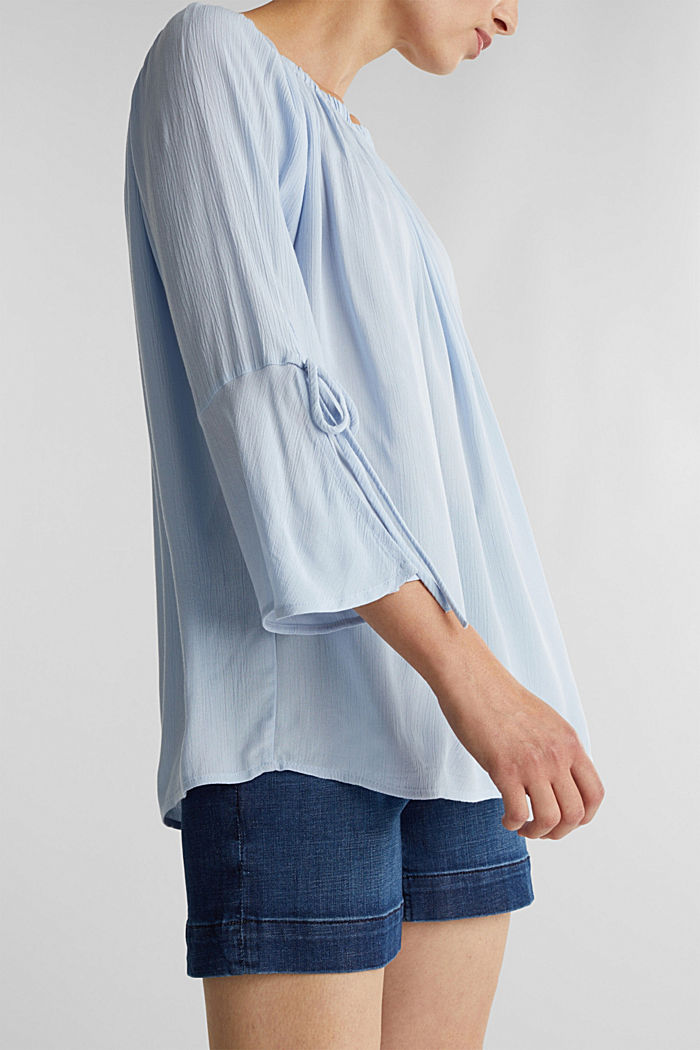 Blouse with a stretchy neckline, LIGHT BLUE, detail image number 2