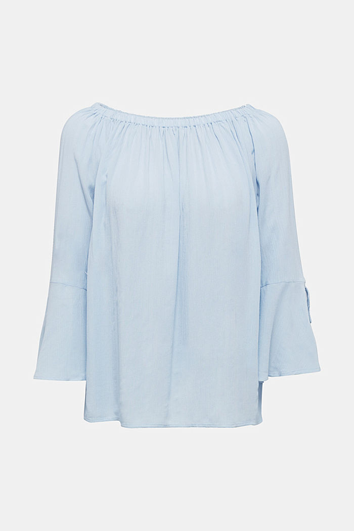 Blouse with a stretchy neckline, LIGHT BLUE, detail image number 6