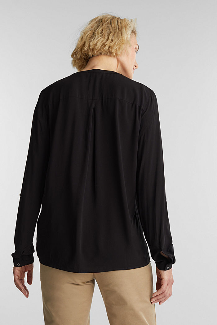 Henley blouse made of LENZING™ ECOVERO™, BLACK, detail image number 3