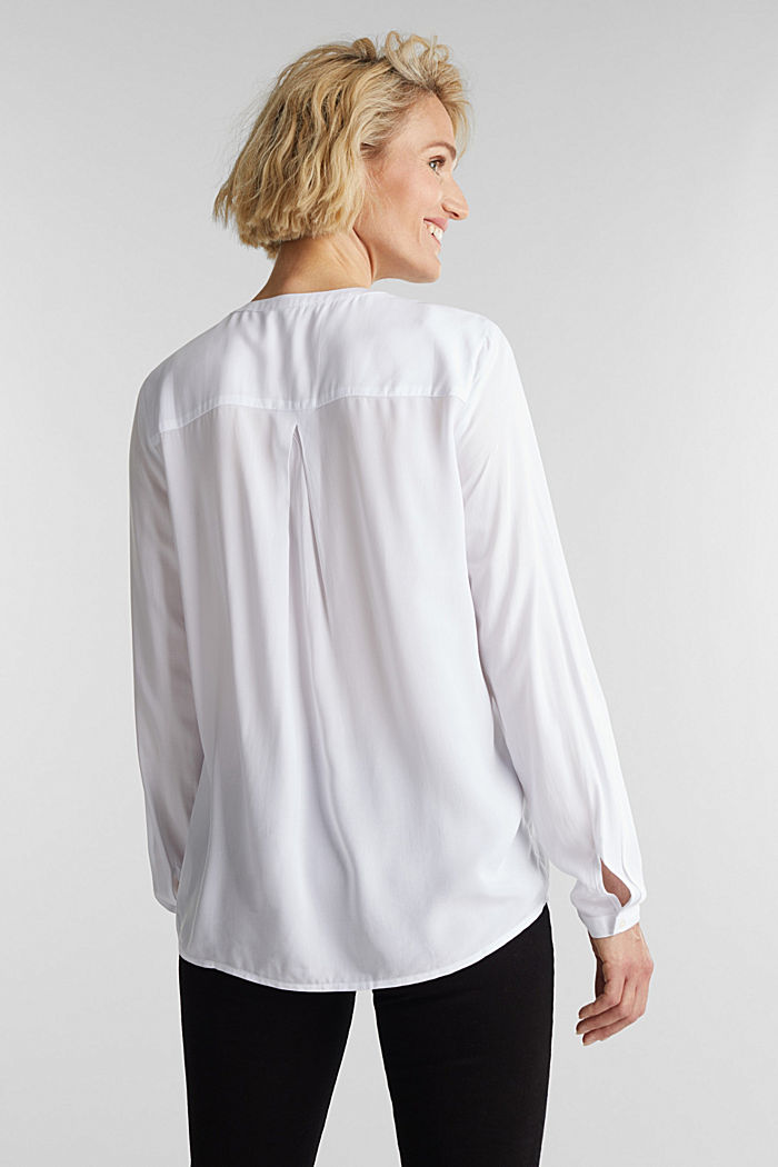 Henley blouse made of LENZING™ ECOVERO™, WHITE, detail image number 3