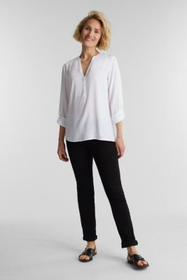 Henley blouse made of LENZING™ ECOVERO™, WHITE, detail