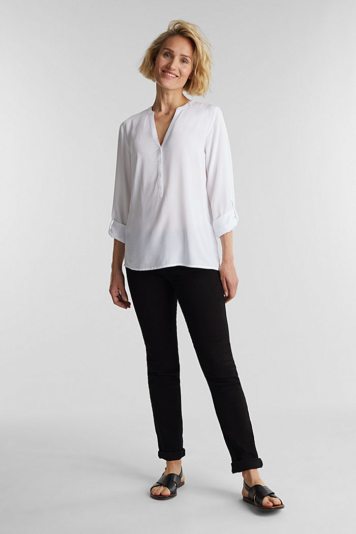 Henley blouse made of LENZING™ ECOVERO™, WHITE, detail image number 1