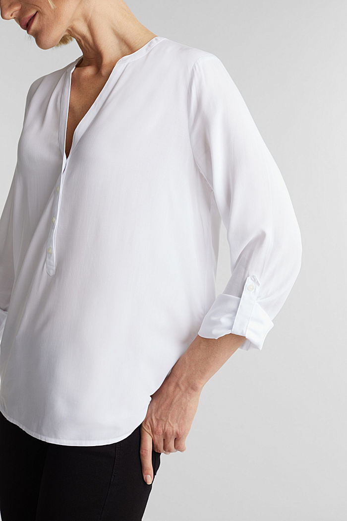 Henley blouse made of LENZING™ ECOVERO™, WHITE, detail image number 2