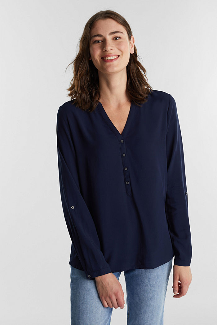 Henley blouse made of LENZING™ ECOVERO™, NAVY, detail image number 0