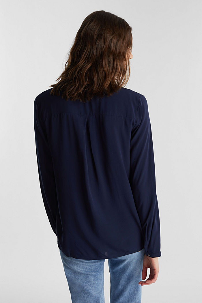 Henley blouse made of LENZING™ ECOVERO™, NAVY, detail image number 3