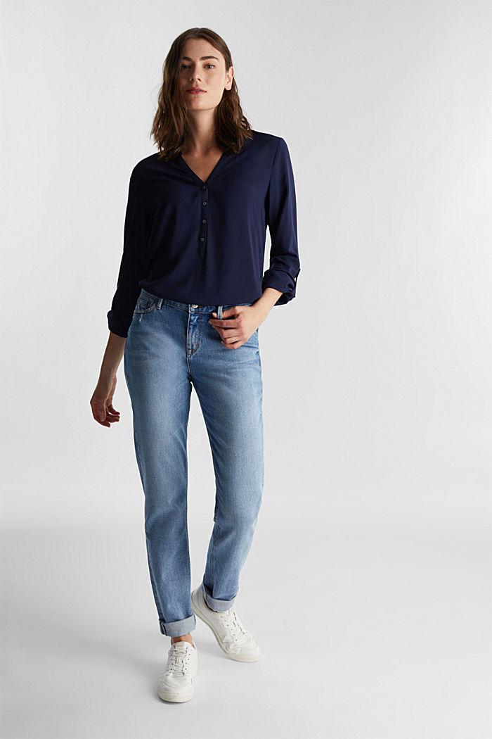 Henley blouse made of LENZING™ ECOVERO™, NAVY, detail image number 1