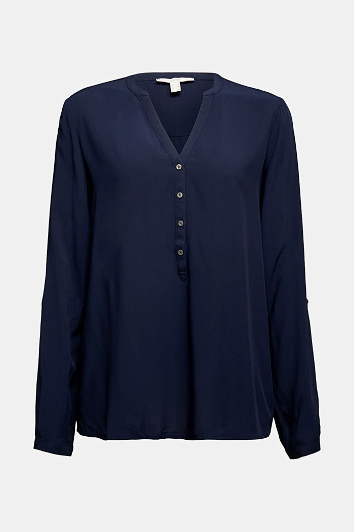 Henley blouse made of LENZING™ ECOVERO™, NAVY, detail image number 5