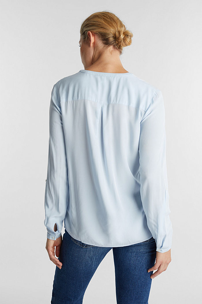 Blusa a serafino in LENZING™ ECOVERO™, LIGHT BLUE, detail image number 3