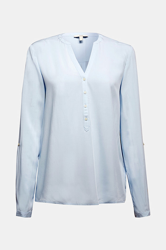 Blusa a serafino in LENZING™ ECOVERO™, LIGHT BLUE, detail image number 7