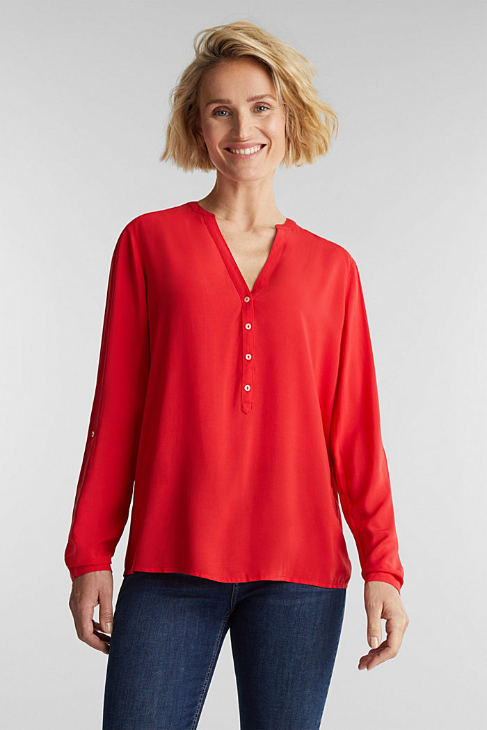 Henley-Bluse aus LENZING™ ECOVERO™, RED, detail image number 0