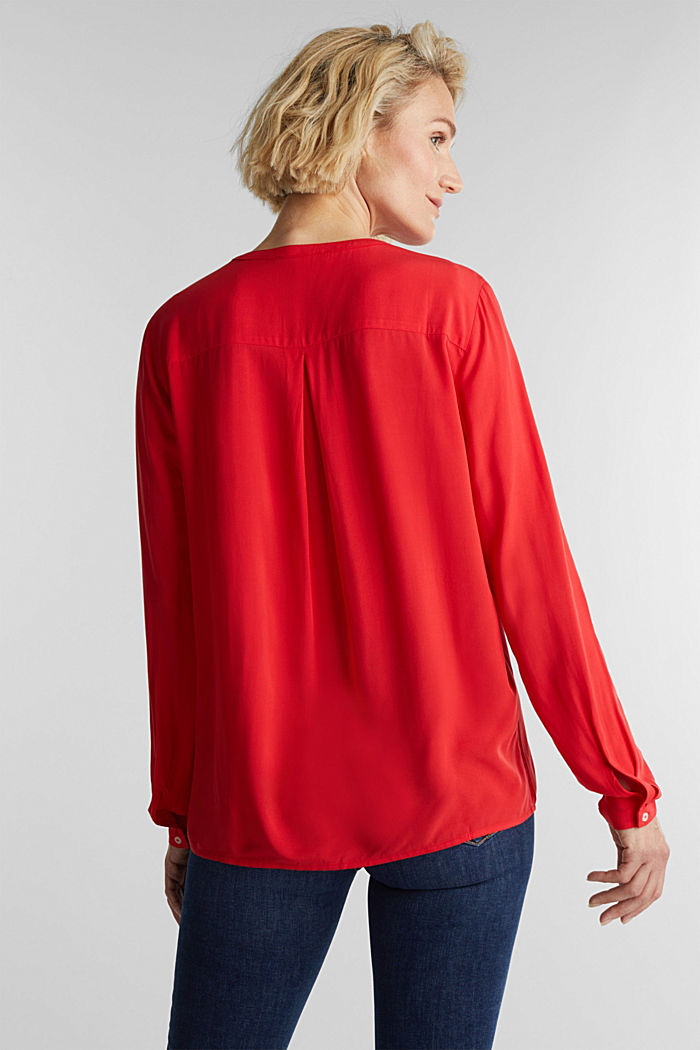 Henley-Bluse aus LENZING™ ECOVERO™, RED, detail image number 3