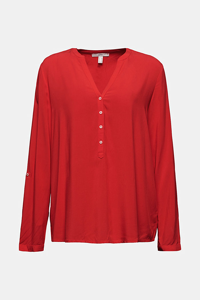 Henley-Bluse aus LENZING™ ECOVERO™, RED, detail image number 6