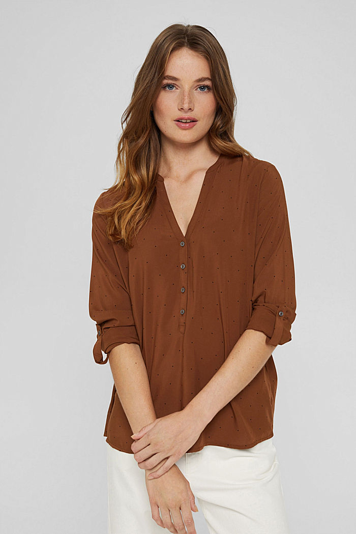 Polka dot Henley blouse made of LENZING™ ECOVERO™, TOFFEE, detail image number 0