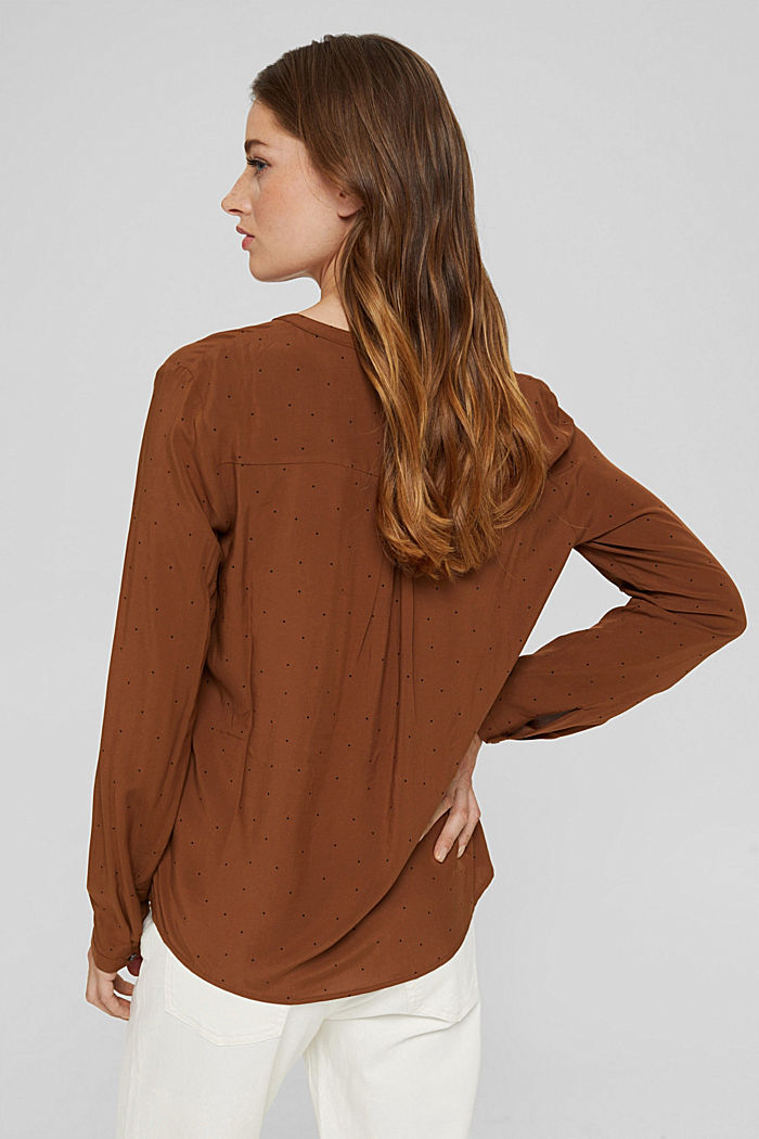 Polka dot Henley blouse made of LENZING™ ECOVERO™, TOFFEE, detail image number 3