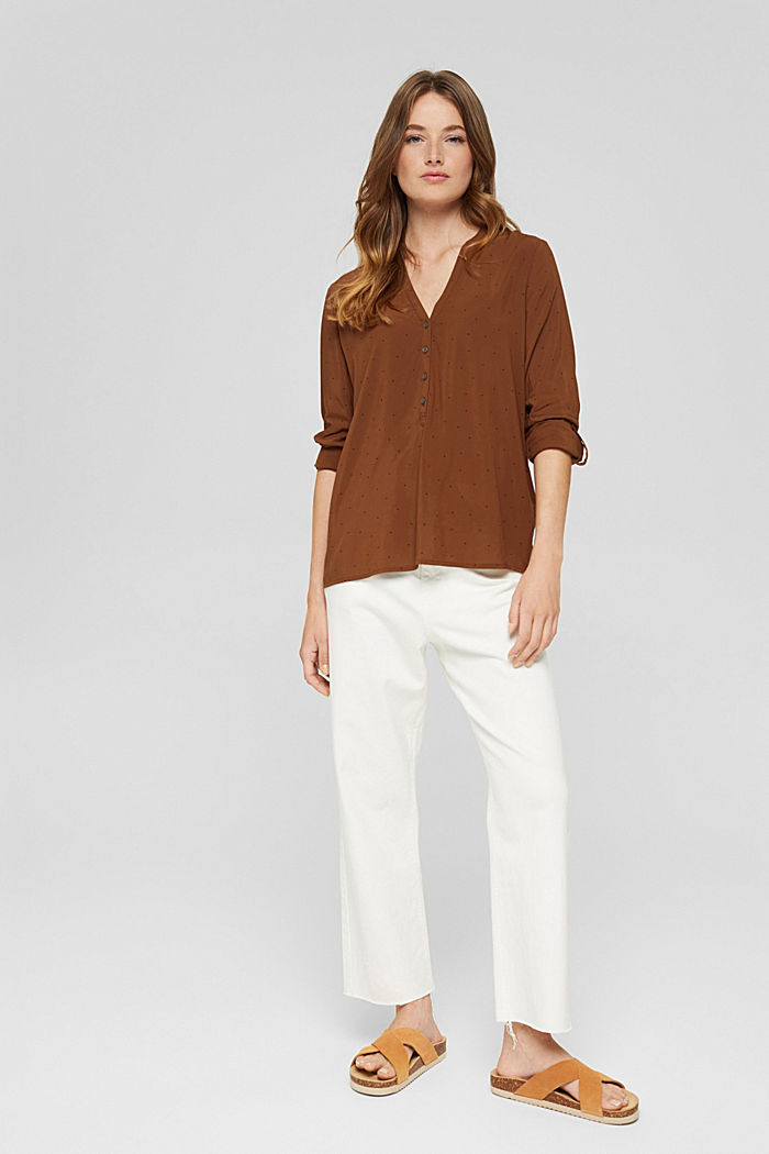 Polka dot Henley blouse made of LENZING™ ECOVERO™, TOFFEE, detail image number 1