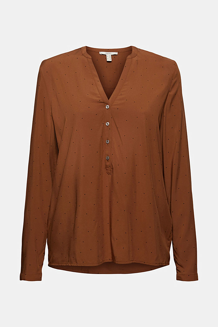 Polka dot Henley blouse made of LENZING™ ECOVERO™, TOFFEE, detail image number 6