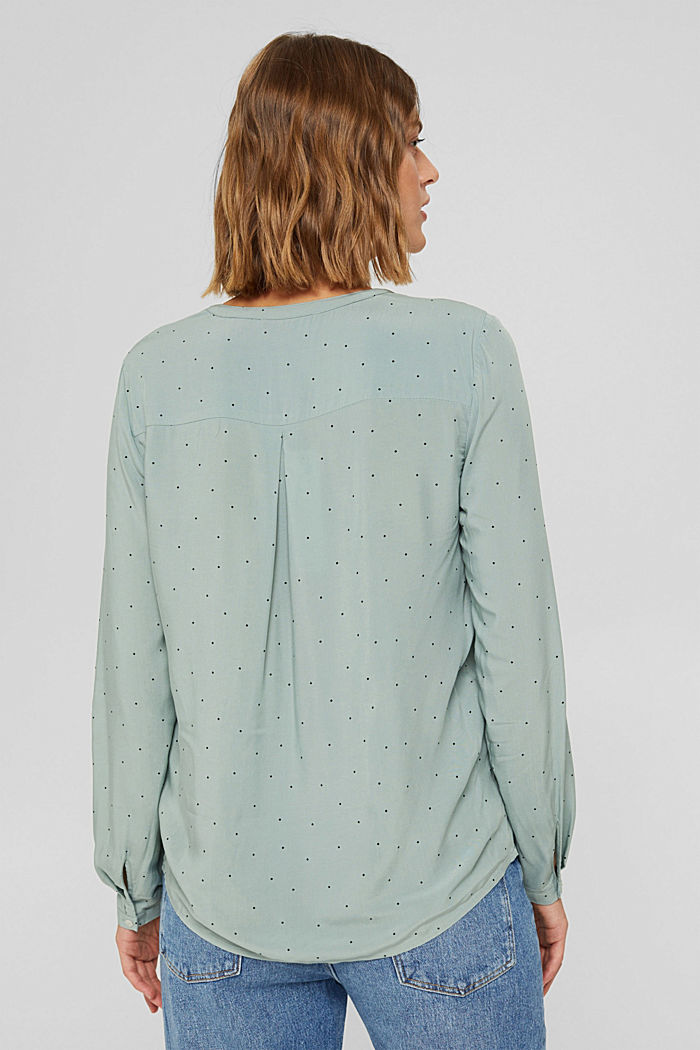 Camicetta henley a pois in LENZING™ ECOVERO™, DUSTY GREEN, detail image number 3