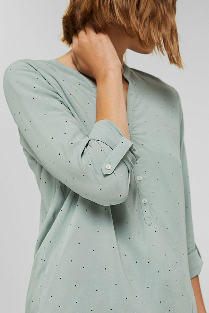Camicetta henley a pois in LENZING™ ECOVERO™, DUSTY GREEN, detail image number 2