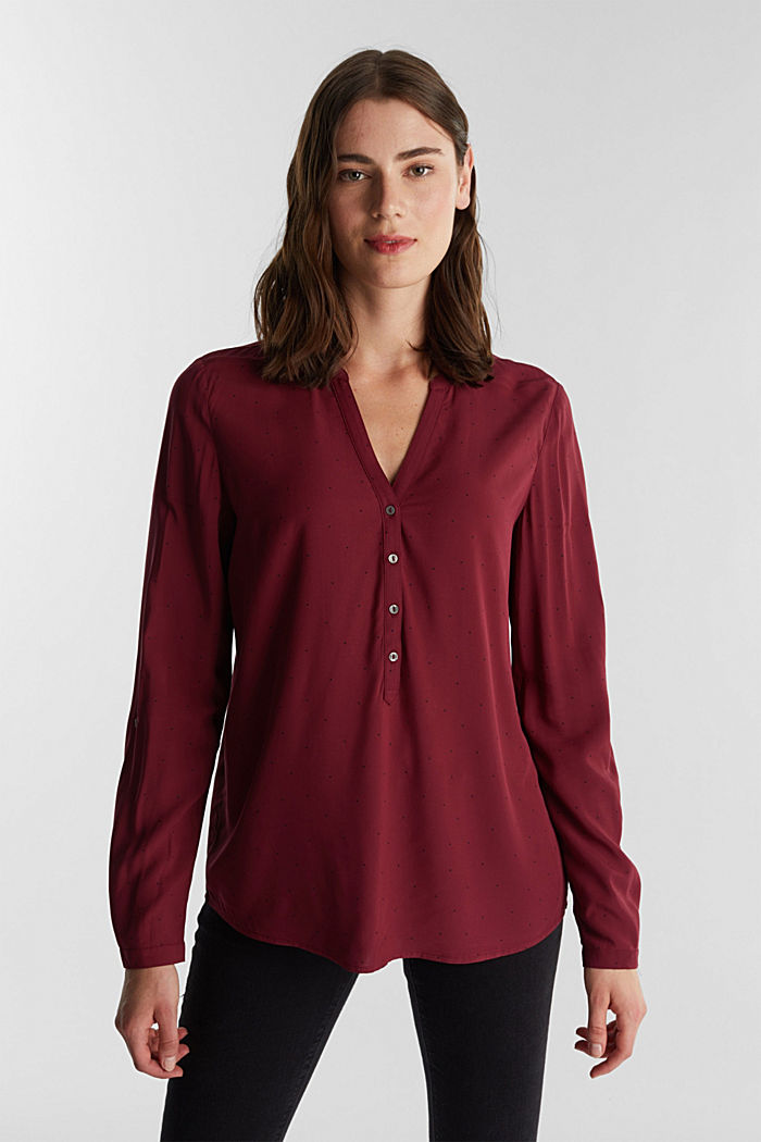 Blouse made from LENZING™ ECOVERO™, BORDEAUX RED, detail image number 0