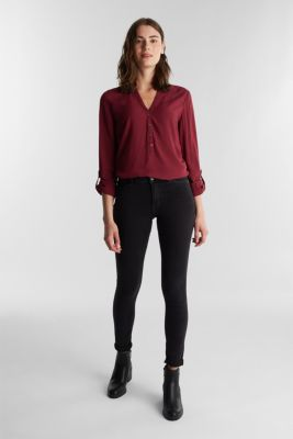 Blouse made from LENZING™ ECOVERO™, BORDEAUX RED 4, detail