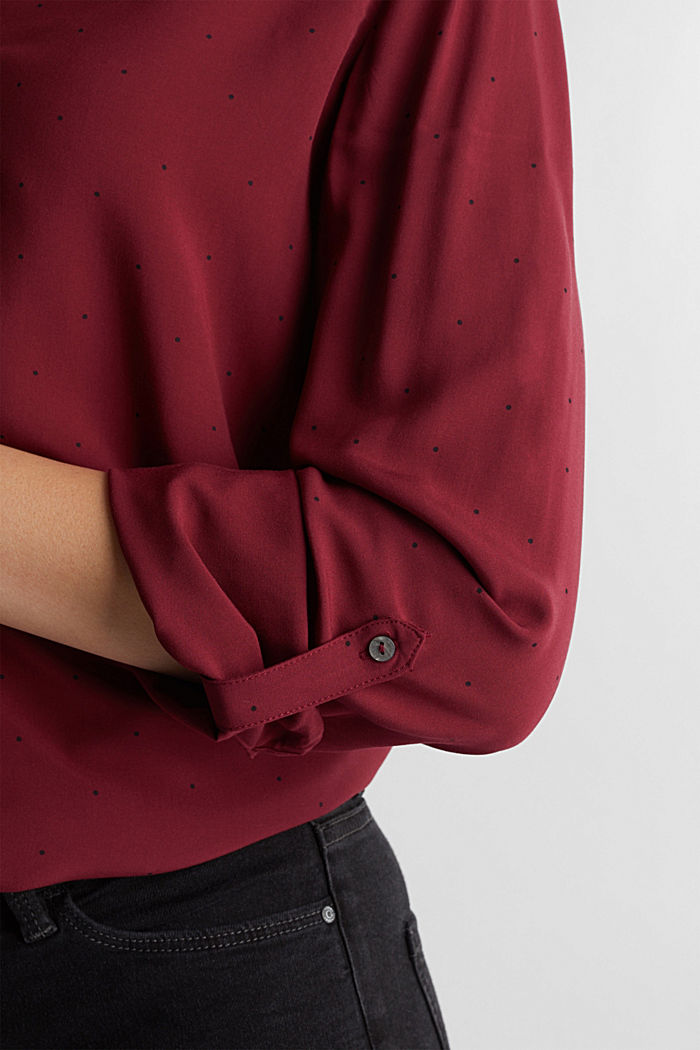 Blouse made from LENZING™ ECOVERO™, BORDEAUX RED, detail image number 2