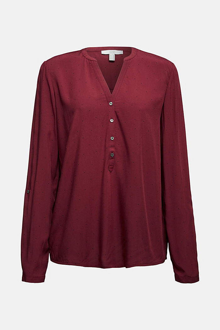 Blouse made from LENZING™ ECOVERO™, BORDEAUX RED, detail image number 6