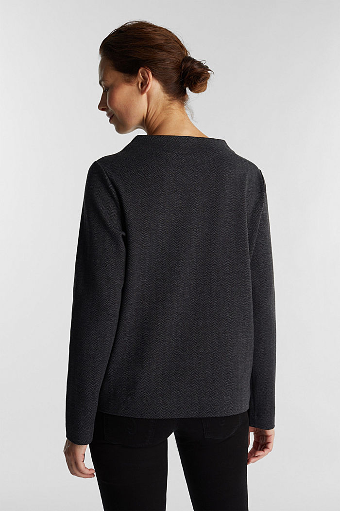 Blouse top with a herringbone pattern, ANTHRACITE, detail image number 2