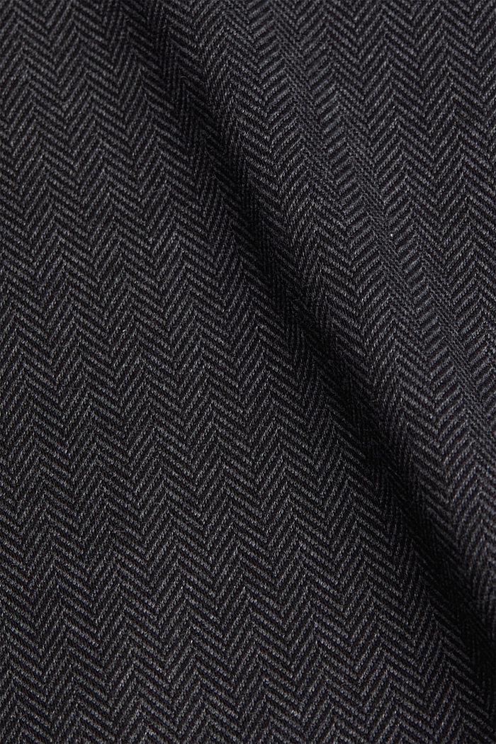Blouse top with a herringbone pattern, ANTHRACITE, detail image number 3