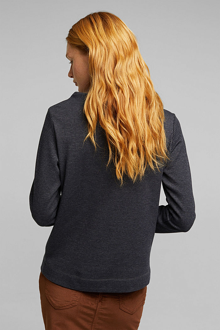Longsleeve mit Hahnentritt-Muster, GREY BLUE, detail image number 3