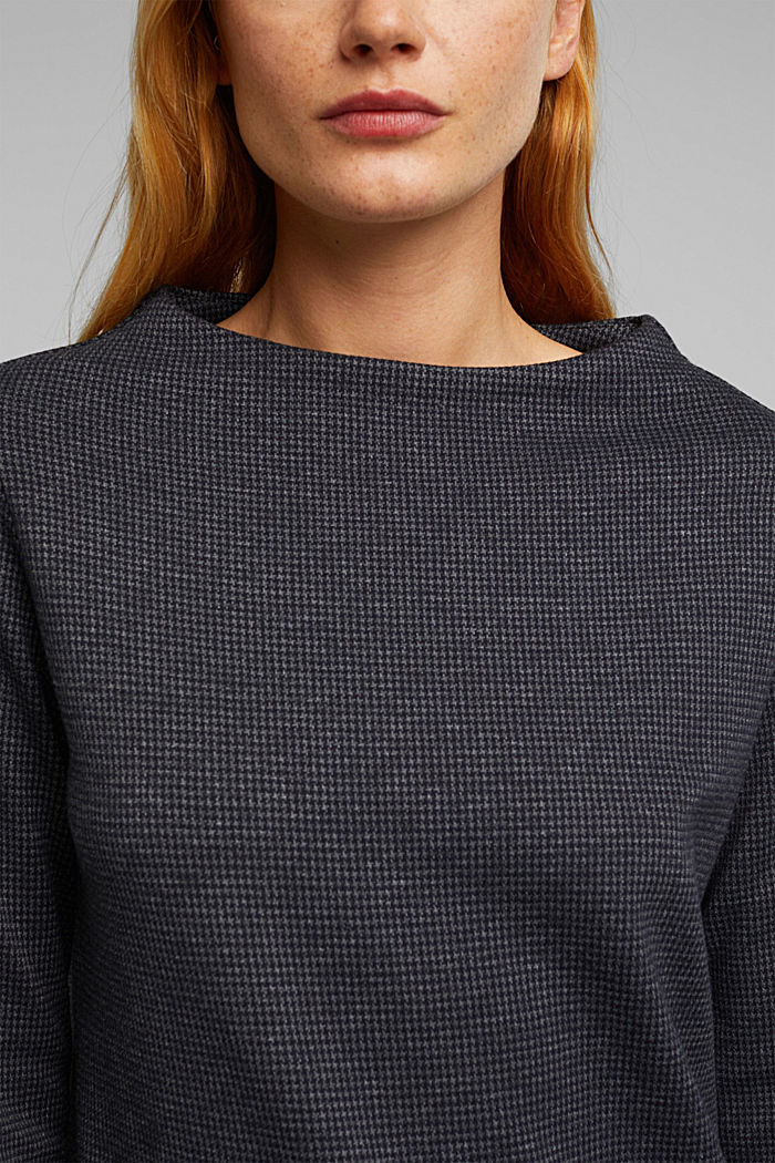 Longsleeve mit Hahnentritt-Muster, GREY BLUE, detail image number 2