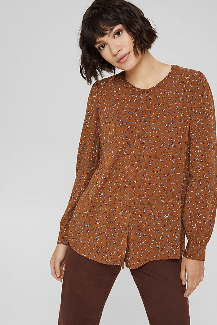 Blusa con stampa leopardata in LENZING™ ECOVERO™, TOFFEE, detail image number 0