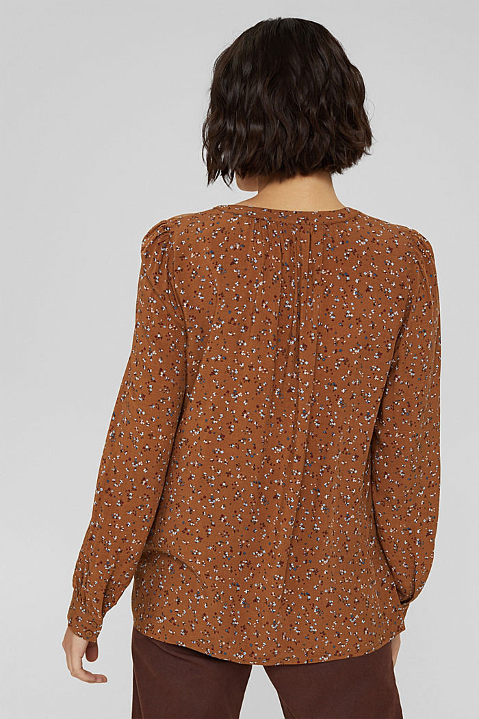 Blusa con stampa leopardata in LENZING™ ECOVERO™, TOFFEE, detail image number 3