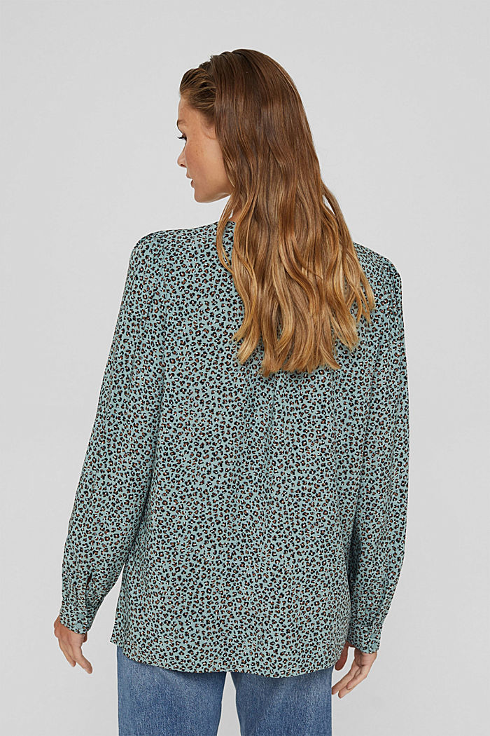 Blusa con stampa leopardata in LENZING™ ECOVERO™, DUSTY GREEN, detail image number 3