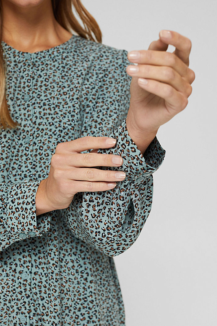 Blusa con stampa leopardata in LENZING™ ECOVERO™, DUSTY GREEN, detail image number 2
