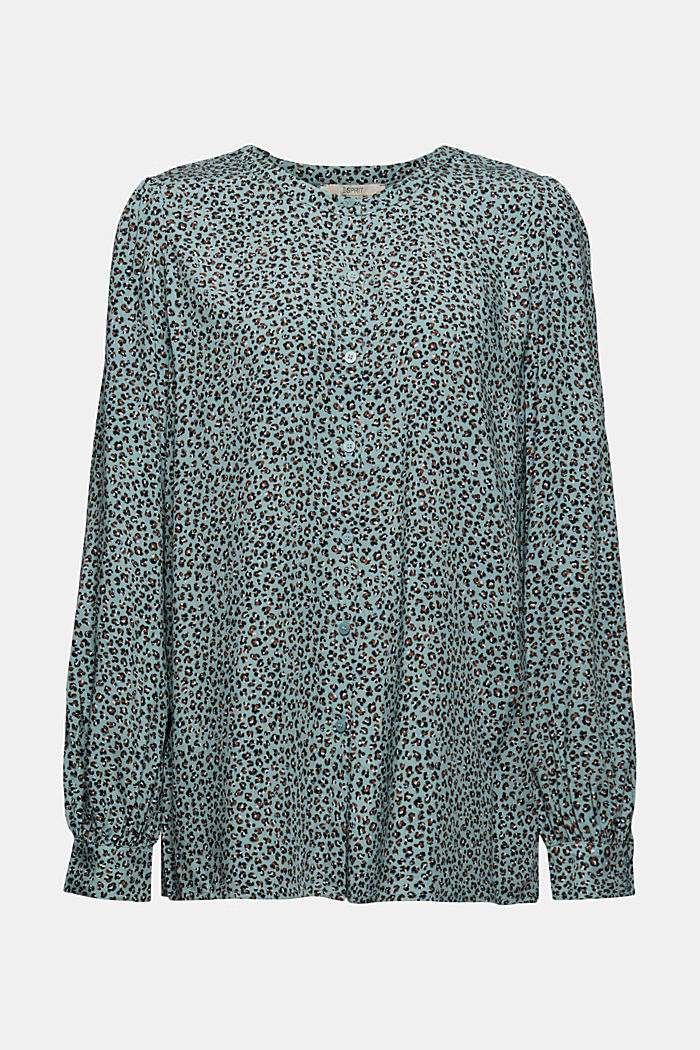 Blusa con stampa leopardata in LENZING™ ECOVERO™, DUSTY GREEN, detail image number 6